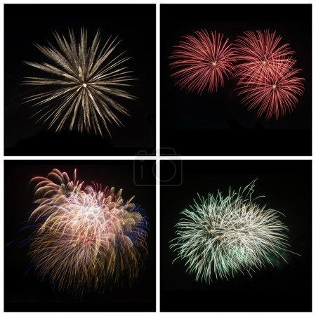 Photo pour Collection d'explosions de feu d'artifice coloré brillant éclat - image libre de droit