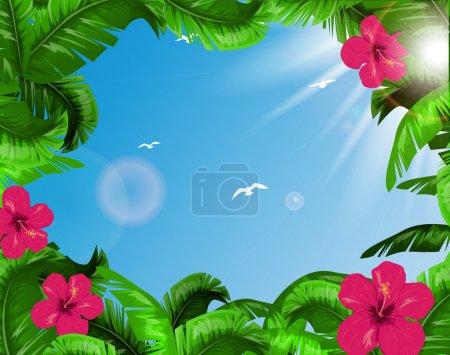 Illustration pour Feuilles tropicales - image libre de droit
