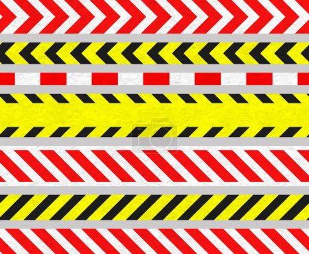 Photo pour Ensemble de panneaux de mise en garde TapeS et d'avertissement, bandes sans couture, vieux métal texturé - image libre de droit