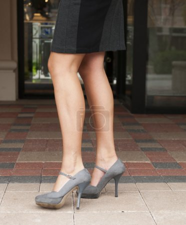 Grey High Heels and Black Skirt