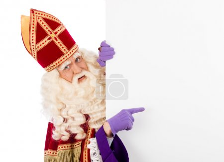 Photo for Sinterklaas with placard. isolated on white background. Dutch character of Santa Claus - Royalty Free Image