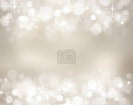 Photo for Silver christmas background with stars and bokeh lights - Royalty Free Image