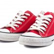Vintage red shoes on white background...