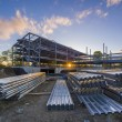 Construction site with steel beams and flooring re...