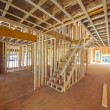 Interior framing of a new house construction in th...