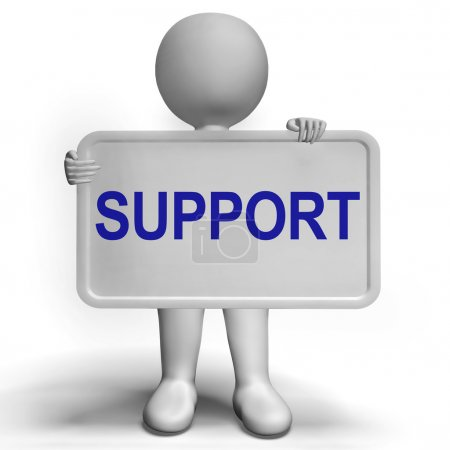 Support On Sign Showing Customer Help And Advice