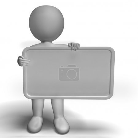 Blank White Sign With Copyspace Includes 3d Character