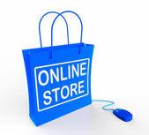 Negozio online borsa rappresenta internet commercio e vendita