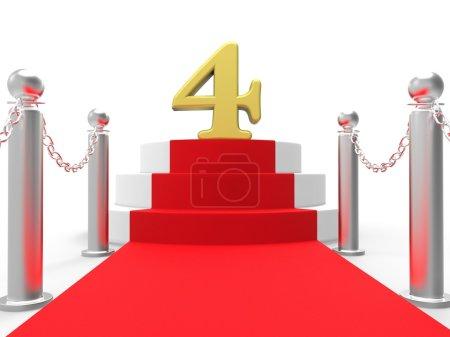 Golden Four On Red Carpet Showing Elegant Film Event Or Celebration