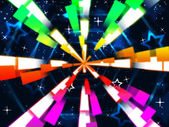 Colorful Beams Background Means Stars And Hexagona