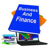 Podnikání a financí kniha zásobníku laptop ukazuje finance firmy