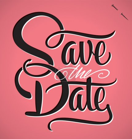 Illustration for SAVE THE DATE hand lettering - handmade calligraphy, vector (eps8) - Royalty Free Image