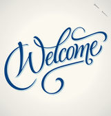 WELCOME hand lettering vector illustration Hand drawn lettering card background Modern handmade calligraphy Hand drawn lettering element for your design