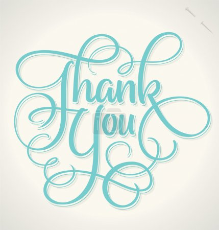 Illustration for THANK YOU hand lettering, vector illustration. Hand drawn lettering card background. Modern handmade calligraphy. Hand drawn lettering element for your design. - Royalty Free Image