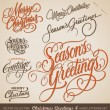 Set of 7 hand-lettered CHRISTMAS GREETINGS -- hand...