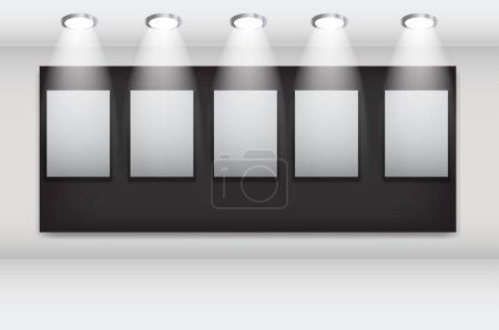 Illustration pour Cadres blancs dans la galerie d'art illustration vectorielle . - image libre de droit