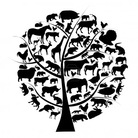Illustration for Vector set of animals silhouette on tree. - Royalty Free Image
