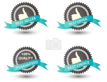 Illustration for Vector Best Seller label with red ribbon. - Royalty Free Image