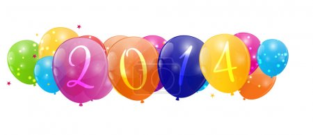 Color glossy balloons 2014 new year background vector illustrati