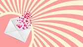 Valentine's Day card with envelope and heart shaped balloons Vector Illustration