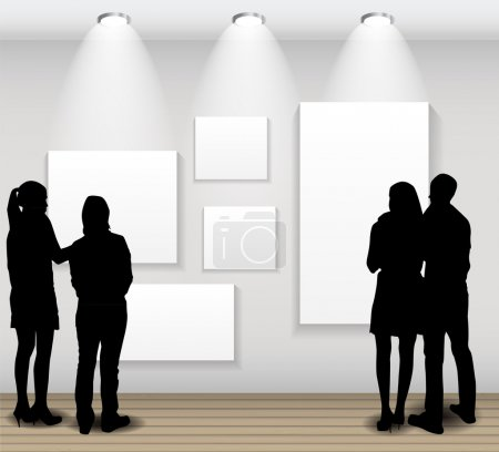 Illustration for Peoples Silhouettes Looking on the Empty Frame in Art Gallery for Images and Advertisement. Vector Illustration - Royalty Free Image