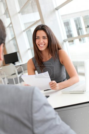 Photo for Businesswoman interviewing job applicant - Royalty Free Image