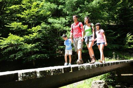 Photo pour Famille marchant sur un pont dans la forêt de montagne - image libre de droit