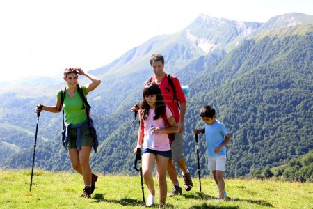 Photo for Family on a trekking day in the mountains - Royalty Free Image