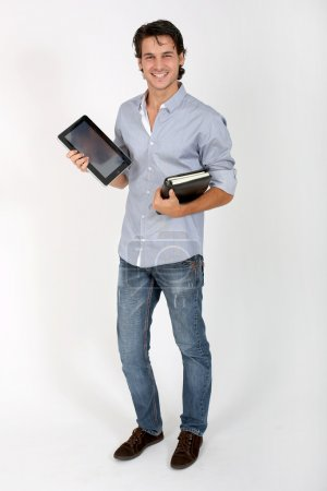 College student on white background with tablet