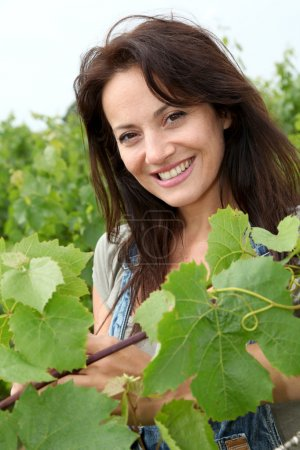 Portrait of smiling winegrower in vineyard