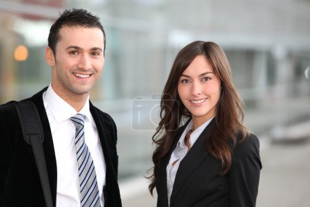 Photo for Portrait of business standong outside the airport - Royalty Free Image