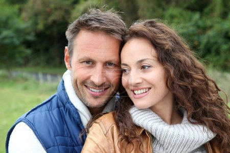 Photo for Closeup of happy couple in autumn - Royalty Free Image