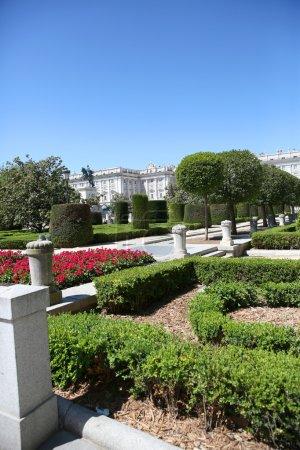 View of Plaza de Oriente y Palacio real in background, Madrid