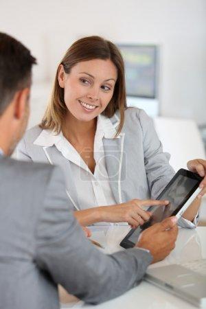 Woman presenting business plan