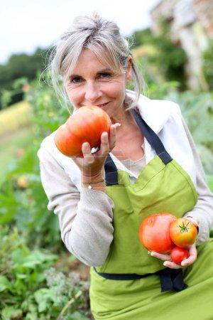 Woman tasting fresh tomatoes