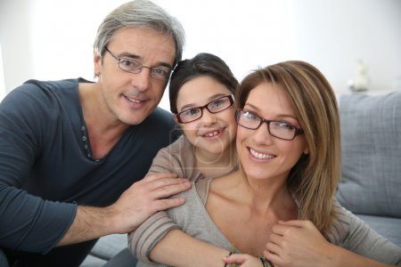 Photo for Portrait of family of 3 people wearing eyeglasses - Royalty Free Image