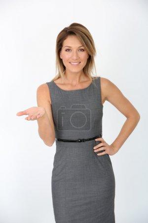 Businesswoman presenting message