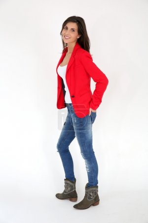 Woman with red jacket