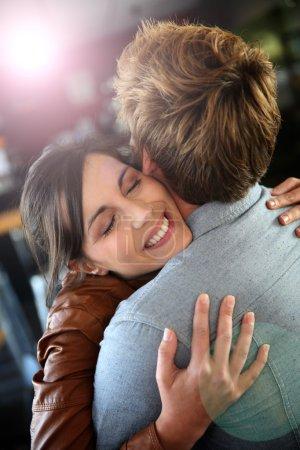 Girl embracing her boyfriend