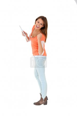 Girl showing tablet screen