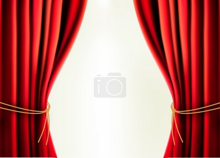 Illustration for Background with red velvet curtain Vector illustration - Royalty Free Image