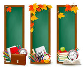 Back to school Three banners with school supplies and autumn leaves