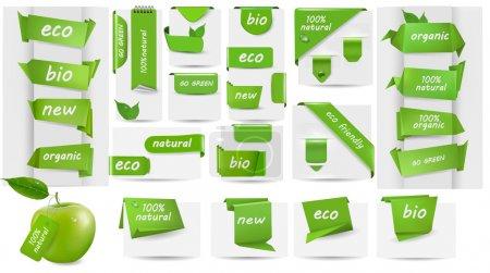Illustration pour Collection avec étiquettes Eco et étiquettes et autocollants Illustration vectorielle - image libre de droit