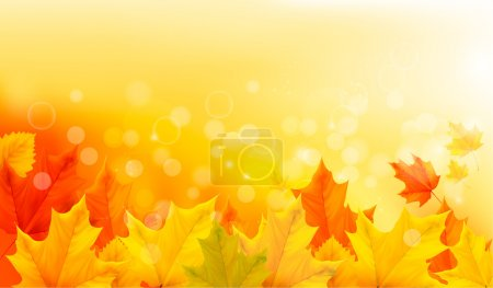 Illustration pour Fond d'automne avec des feuilles jaunes et la main. Illustration vectorielle . - image libre de droit
