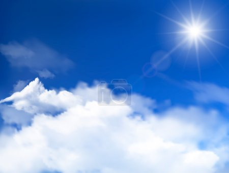 Blue sky with clouds and sun. Vector background.