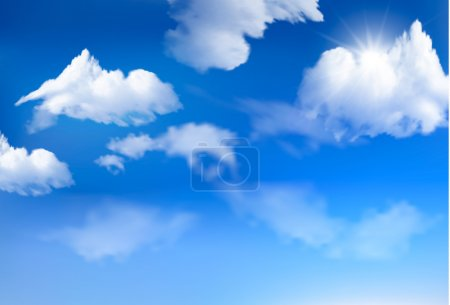 Illustration for Blue sky with clouds. Vector background. - Royalty Free Image