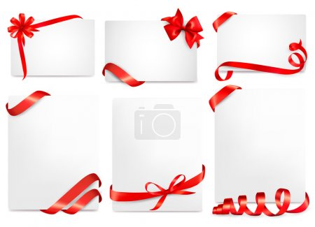 Set of beautiful cards with red gift bows with ribbons Vector