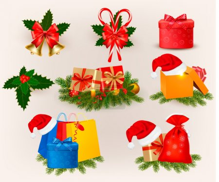 Illustration for Set of christmas icons and elements. Vector - Royalty Free Image