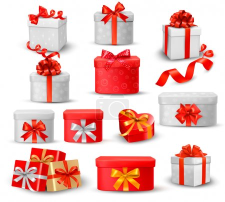 Illustration for Set of colorful gift boxes with bows and ribbons. - Royalty Free Image