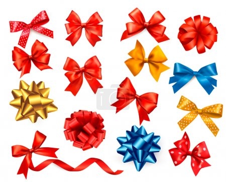 Big set of colour gift bows with ribbons. Vector illustration.
